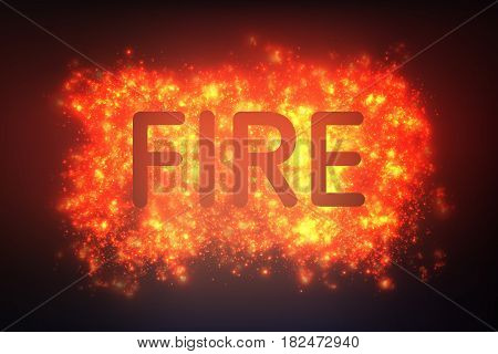 Abstract fire blast of burning points. Explosion of glowing colorful dust. Vector illustration of star nebula or supernova birth.