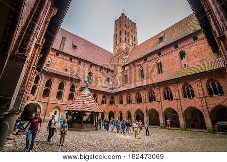 MALBORK POLAND - September 102016:Interior in greatest Gothic castle in Europe - Malbork. Teutonic castle. World Heritage List UNESCO