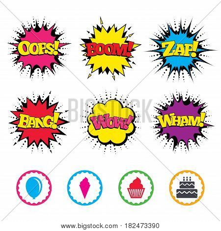 Comic Wow, Oops, Boom and Wham sound effects. Birthday party icons. Cake with ice cream signs. Air balloon symbol. Zap speech bubbles in pop art. Vector