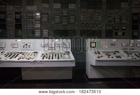 Control room of the nuclear power plant. Control panels.