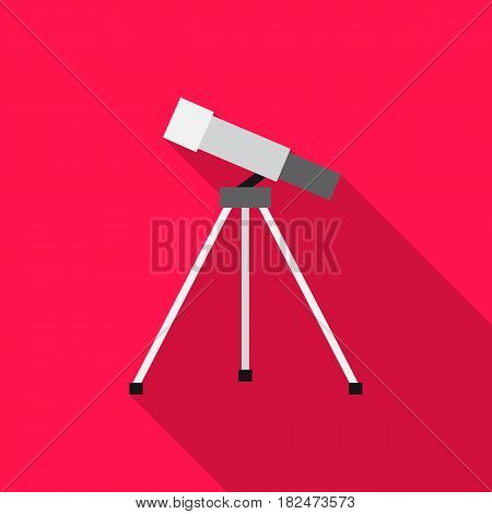 Telescope icon flat. Single education icon from the big school, university flat.