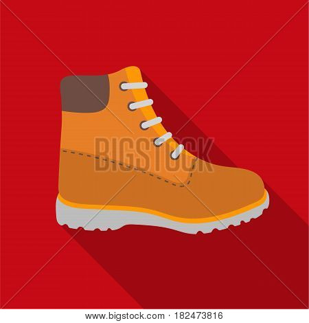 Hiking boots icon in flat style isolated on white background. Shoes symbol vector illustration.