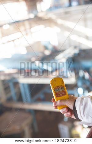 CHERNOBYL UKRAINE - OCTOBER 16 2015: Dosimeter measuring the radiation level at Chernobyl Nuclear Power Plant.