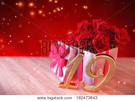 birthday concept with red roses in the gift on wooden desk. 3D render - nineteenth birthday. 19th