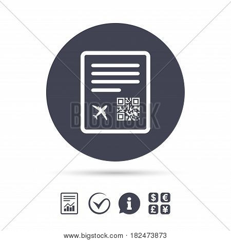 Boarding pass flight sign icon. Airport ticket symbol. Report document, information and check tick icons. Currency exchange. Vector