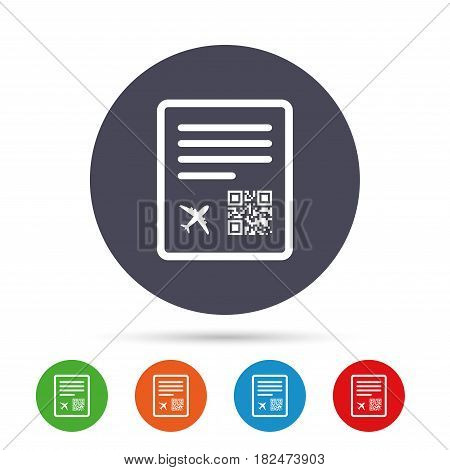 Boarding pass flight sign icon. Airport ticket symbol. Round colourful buttons with flat icons. Vector