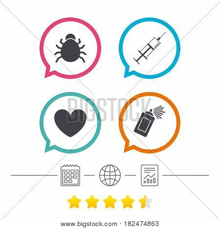Bug and vaccine syringe injection icons. Heart and spray can sign symbols. Calendar, internet globe and report linear icons. Star vote ranking. Vector