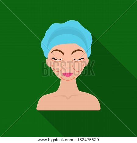 Cosmetic plastic surgery icon in flate style isolated on white background. Skin care symbol vector illustration.