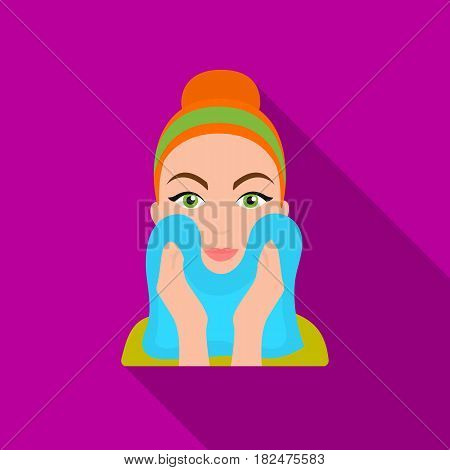 Cleaning of face skin icon in flate style isolated on white background. Skin care symbol vector illustration.