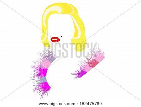 Femme fatale blonde, diva, vector illustration, portrait of modern American woman