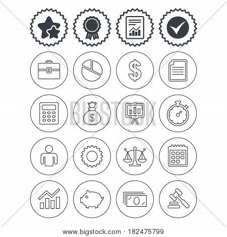 Report, check tick and award signs. Business icons. Businessman, briefcase and documents symbols. Presentation pie chart, money bag and justice scales thin outline signs. Dollar USD currency. Vector