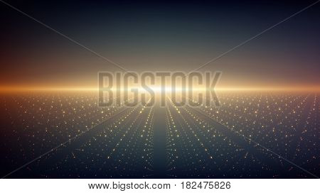Abstract vector infinity background. Glowing stars with illusion of depth and perspective. Abstract futuristic space on dark background. Abstract sunrise.