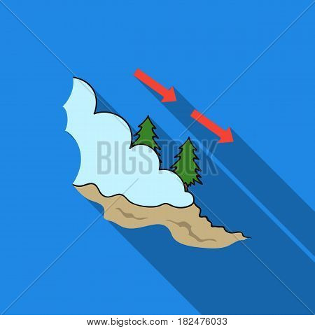 Avalanche icon in flate style isolated on white background. Ski resort symbol vector illustration.