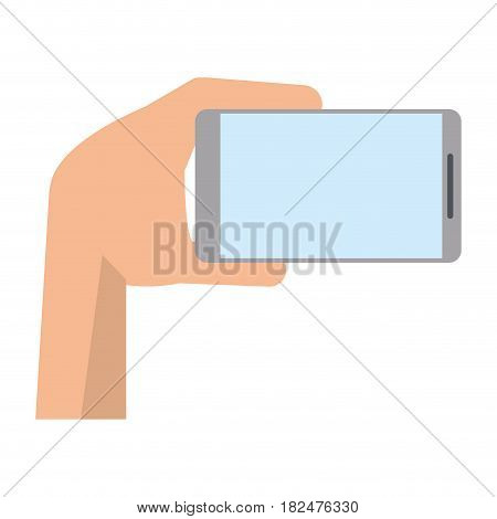 hand with mobile device modern vector illustration eps 10