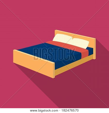 Bed icon in flate design isolated on white background. Sleep and rest symbol stock vector illustration.