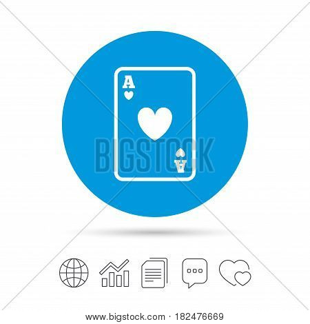 Casino sign icon. Playing card symbol. Ace of hearts. Copy files, chat speech bubble and chart web icons. Vector