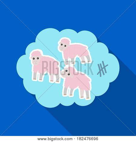 Count sheep icon in flate design isolated on white background. Sleep and rest symbol stock vector illustration.