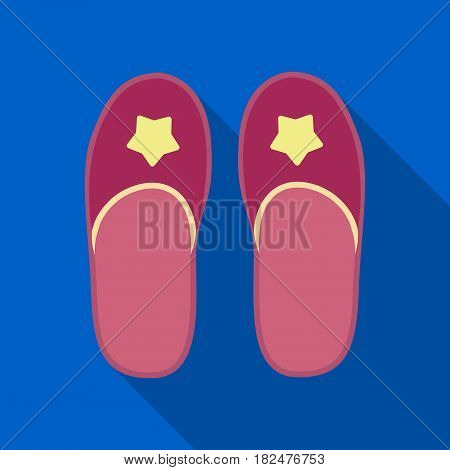 Slippers icon in flate design isolated on white background. Sleep and rest symbol stock vector illustration.