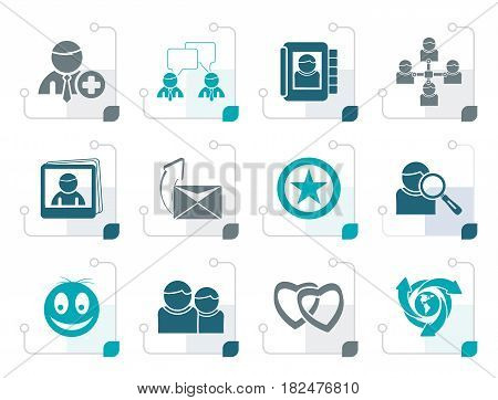 Stylized Internet Community and Social Network Icons - vector icon set