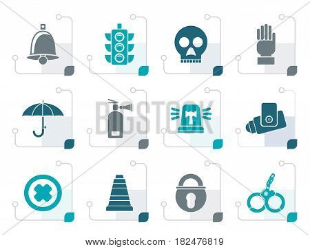 Stylized Surveillance and Security Icons - vector icon set