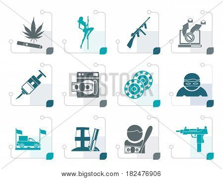 Stylized mafia and organized criminality activity icons - vector icon set