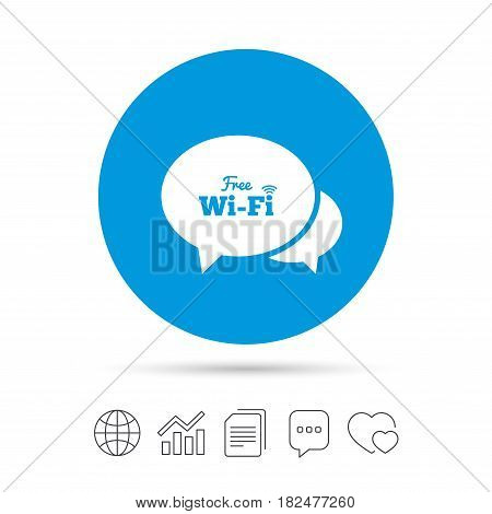 Chat speech bubbles. Free wifi sign. Wifi symbol. Wireless Network icon. Wifi zone. Copy files, chat speech bubble and chart web icons. Vector