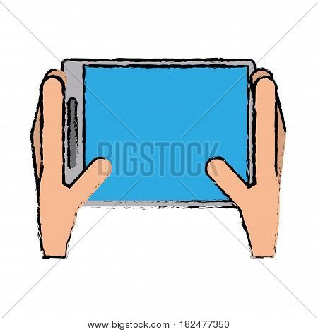 drawing hands holds tablet touchscreen trendy vector illustration eps 10
