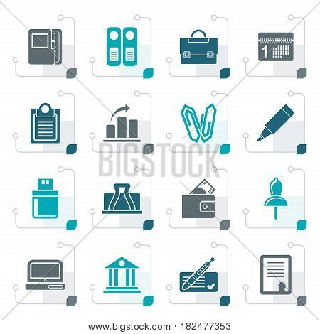 Stylized Business, Office and Finance Icons - Vector Icon Set