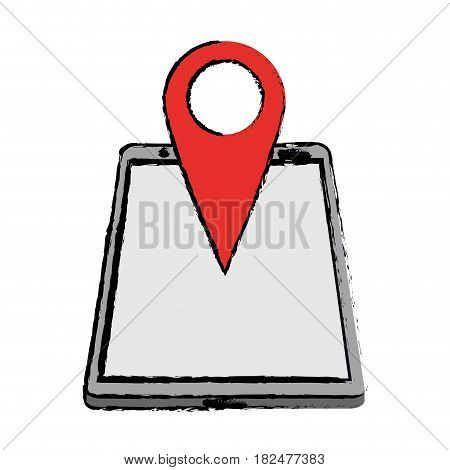 drawing smartphone pin map location gps vector illustration eps 10