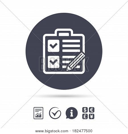 Checklist with pencil sign icon. Control list symbol. Survey poll or questionnaire form. Report document, information and check tick icons. Currency exchange. Vector