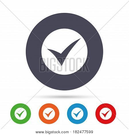 Check sign icon. Yes symbol. Confirm. Round colourful buttons with flat icons. Vector
