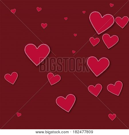 Random Red Paper Hearts. Random Scatter On Wine Red Background. Vector Illustration.