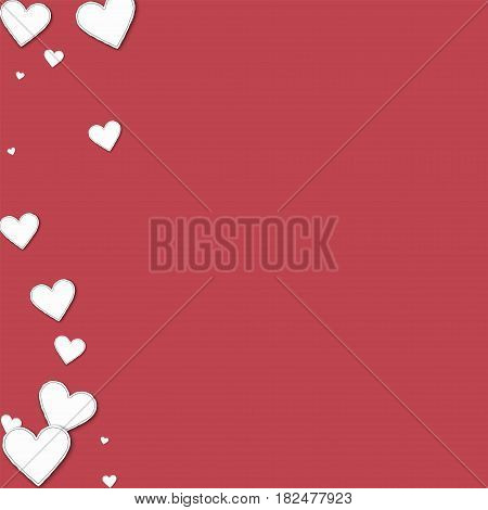 Cutout Paper Hearts. Abstract Left Border On Crimson Background. Vector Illustration.