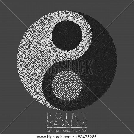Vector illustration of abstract dotted symbol Yin Yang. Sacred geometry sign made in stippling technique. Isolated halftone symbol. Pointillism.