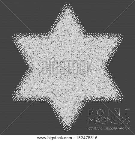 Vector illustration of abstract dotted symbol Star of David. Judaism sacred geometry sign made in stippling technique. Isolated halftone symbol. Pointillism.