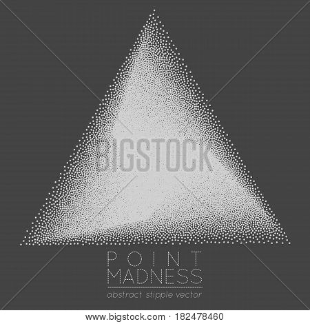 Vector illustration of abstract dotted symbol delta fading outside. Sacred geometry sign made in stippling technique. Isolated halftone symbol. Pointillism.