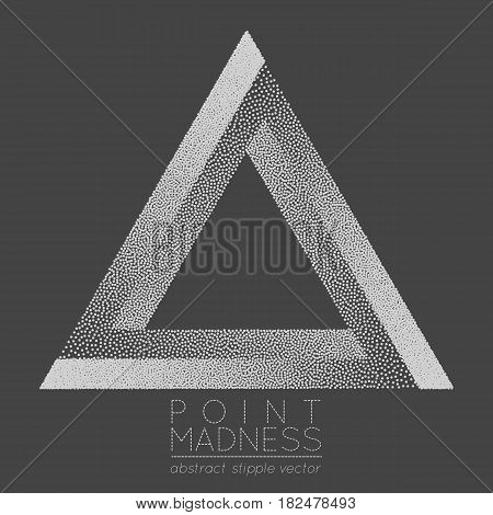 Vector illustration of abstract dotted symbol Penrose triangle. Sacred geometry sign made in stippling technique. Isolated halftone symbol. Pointillism. Penrose tribar.