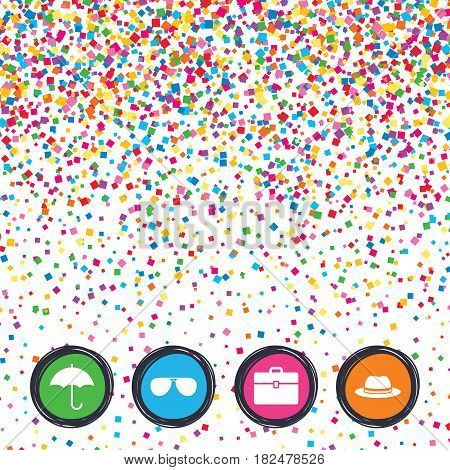 Web buttons on background of confetti. Clothing accessories icons. Umbrella and sunglasses signs. Headdress hat with business case symbols. Bright stylish design. Vector