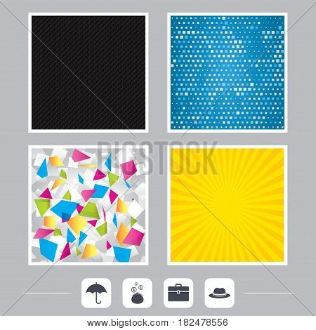 Carbon fiber texture. Yellow flare and abstract backgrounds. Clothing accessories icons. Umbrella and headdress hat signs. Wallet with cash coins, business case symbols. Flat design web icons. Vector