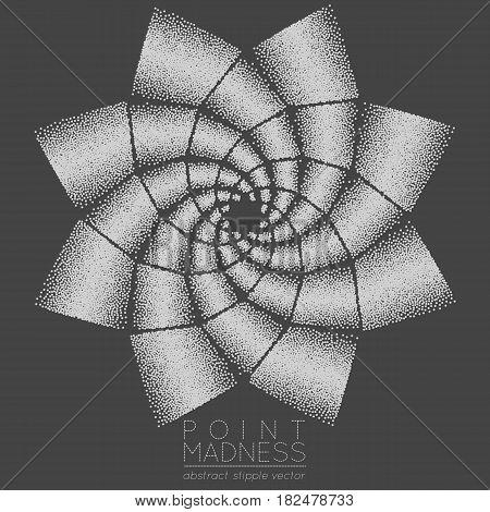 Vector illustration of abstract dotted symbol phyllotaxis. Sacred geometry sign made in stippling technique. Isolated halftone symbol. Pointillism. Opposite spirals.