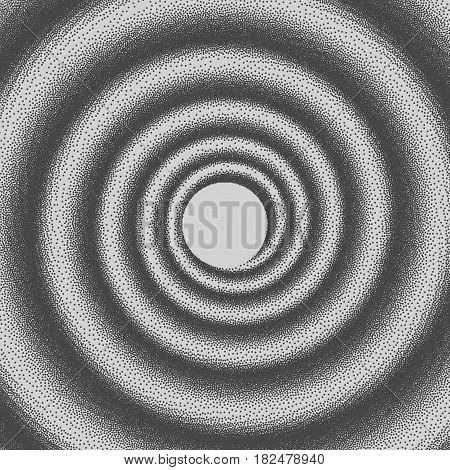 Vector illustration of abstract dotted spiral background. Halftone swirl backdrop. Pointillism. Infinite dotted background. Pointillism.