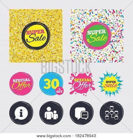 Gold glitter and confetti backgrounds. Covers, posters and flyers design. Information sign. Group of people and database symbols. Chat speech bubbles sign. Communication icons. Sale banners. Vector