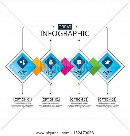Infographic flowchart template. Business diagram with options. Human person and share icons. Speech bubble symbols. Communication signs. Timeline steps. Vector