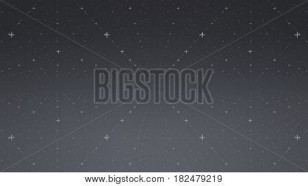 Abstract vector interface background. Matrix of crosses with illusion of depth and perspective. Abstract futuristic space background. Infinite HUD on a dark background