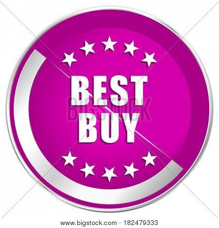 Best buy web design violet silver metallic border internet icon.