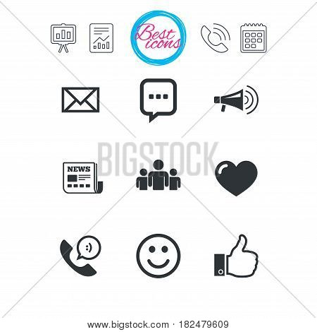 Presentation, report and calendar signs. Mail, news icons. Conference, like and group signs. E-mail, chat message and phone call symbols. Classic simple flat web icons. Vector