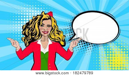 Beautiful sexy young blonde stewardess girl long hair, wink smiling style pop art. Comics book retro halftone background. Vector pin up vintage dot illustration. Empty blank comic text speech bubble.