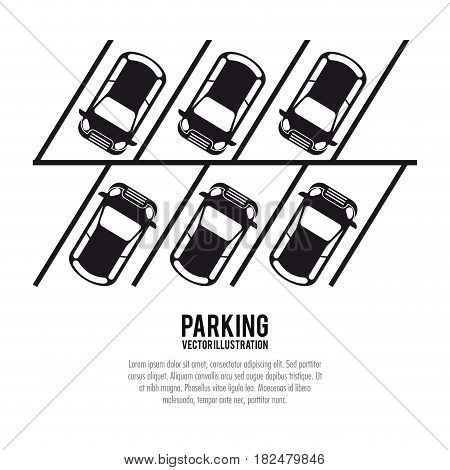 car vehicle auto parking zone park space road sign street icon. black white and isolated design. Vector illustration