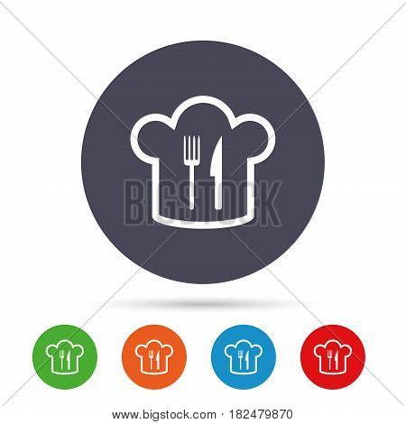 Chef hat sign icon. Cooking symbol. Cooks hat with fork and knife. Round colourful buttons with flat icons. Vector