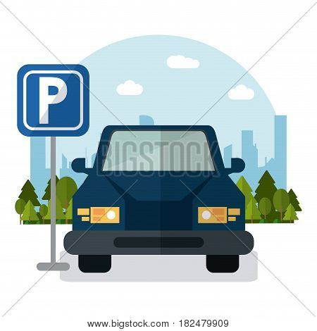 car vehicle auto parking zone park space road sign street city icon. Colorful and flat design. Vector illustration